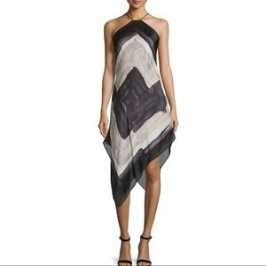 HALSTON HERITAGE Black White Abstract Halter Dress